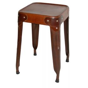 Stool - antique rusty and leather