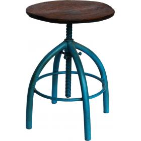 Rotating iron stool with cool seat - antique blue
