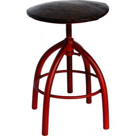 Otočná železná stolička - staročervená