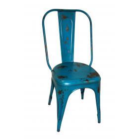 Železná vintage stolička - modrá