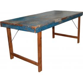 Original old dining table - blue finish