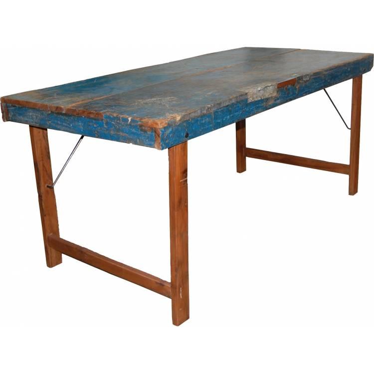 Pôvodný starý jedálenský stôl - modrý