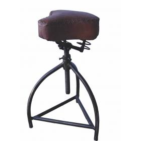 Rotating stool with raw leather seat