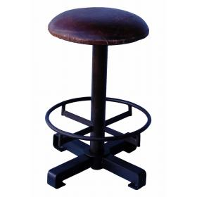 Rustic stool with leather seat