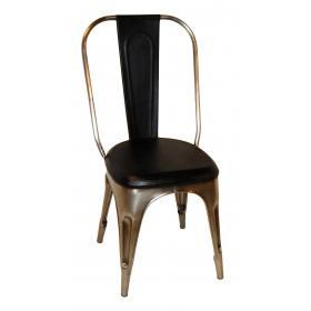 Stuhl - glänzende Basis und schwarzem Leder