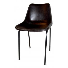 Shell chair with leather - black