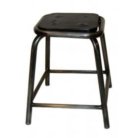 Iron stool with rubber seat