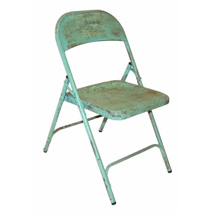 Stará skladacia stolička - bledozelená