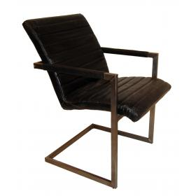 Cool armchair with leather - black