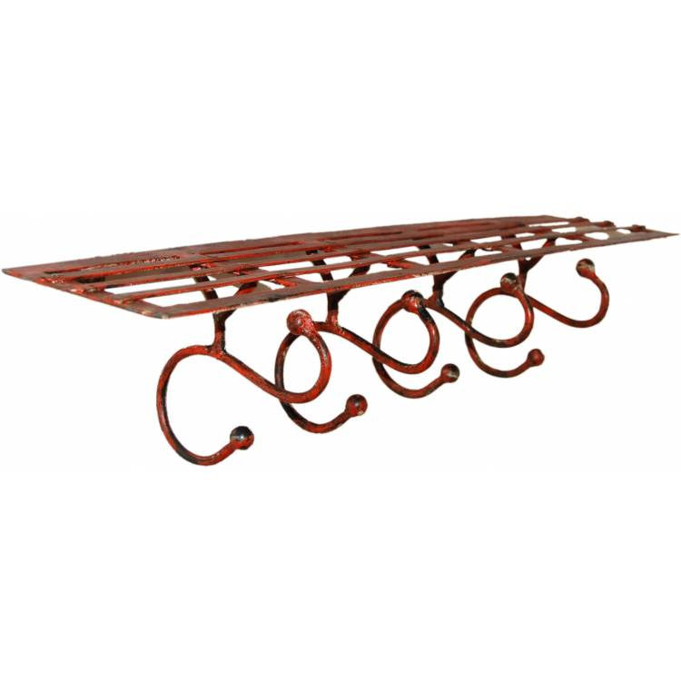 Iron shelf with 4 hooks - factory red