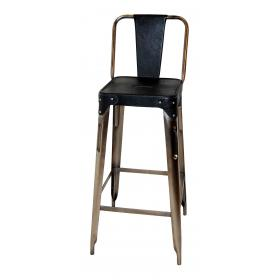 Bar stool in iron - shiny base and black leather