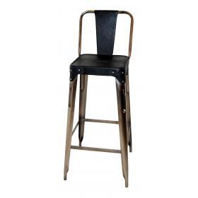 Železná barová stolička - Barová stolička železa - lesklé kovanie a čierna koža