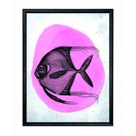 Obraz s rámom - Ružová ryba - malý