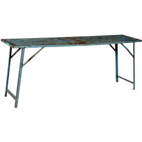 Cool old console table in iron - blue