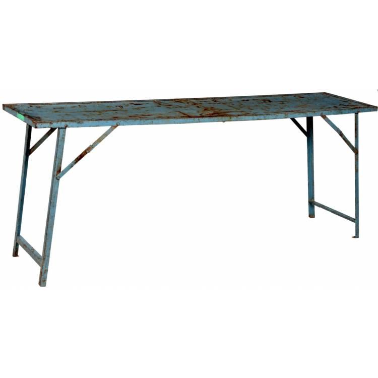 Starý železný konzolový stôl - modrý