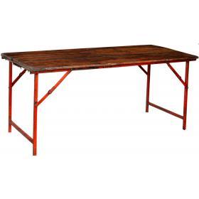 Starý konzolový stôl s drevenou doskou a oranžovou/červenou základňou