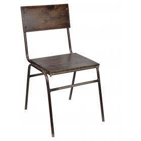 Stolička z tmavého dreva a železa s jasnou práškovou farbou