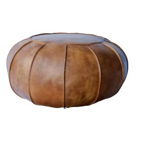 Cool round leather pouf with significant stitches - antique brown