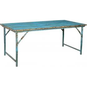 Jedálenský stôl s drevenou doskou a železnou základňou - tyrkysová