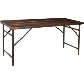 Old rustic console table with iron base and a dark wooden top