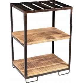 Praktický a stabilný odkladací stolík - železo a drevo