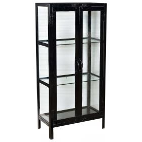 Iron and glass cabinet with 2 doors and 2 shelves - black