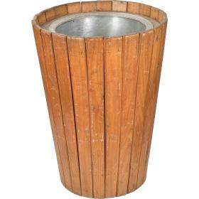 Big old raw pot with lovely teak slats and a new iron bucket