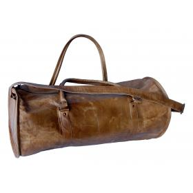 Roomy leather travel bag - brown