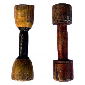Old vintage wooden dumbbell