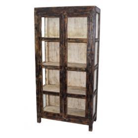 Drevená skriňa s 2 veľkými sklenenými dverami - hnedá / krémová