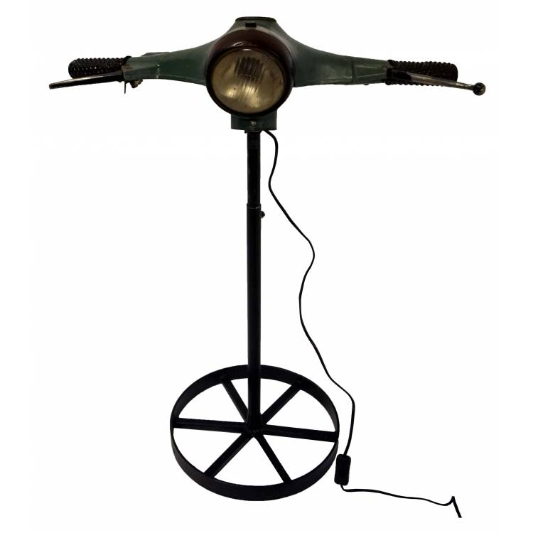 Floor lamp made of raw old scooter