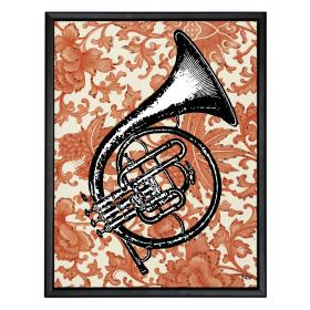 Picture with frame - French horn - Large