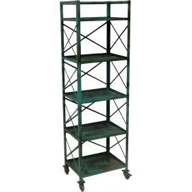 Industrial style iron rack - petrol blue