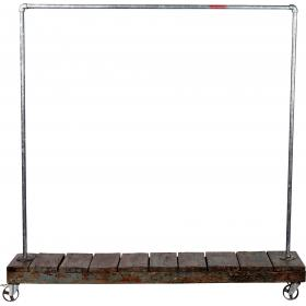Clothes rack made of raw water pipes - with wooden base