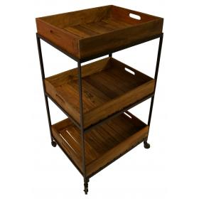 Trolley table with a rustic look with 3 wooden trays