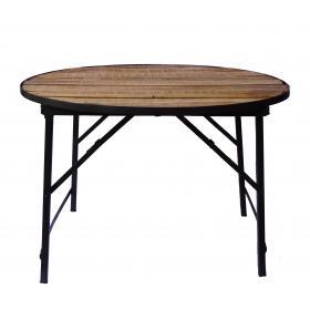 Okrúhly stôl s drevenou doskou a zelenou základňou
