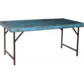 Jedálenský stôl so starou tyrkysovou drevenou doskou a novou základňou