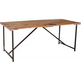 Jedálenský stôl so starou drevenou doskou a novou základňou
