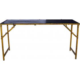 Stôl s farebným okrajom - čierna a žltá