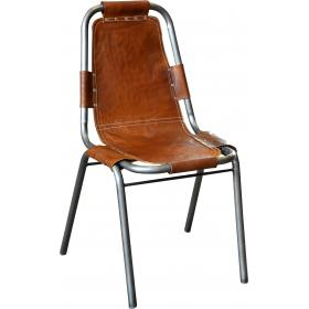 Chair with brown leather - base clear powder coated