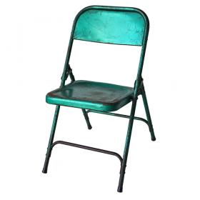Old folding chair - metal green