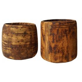 Wooden decorative pot