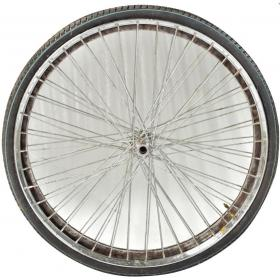 Mirror in frame from bicycle wheel