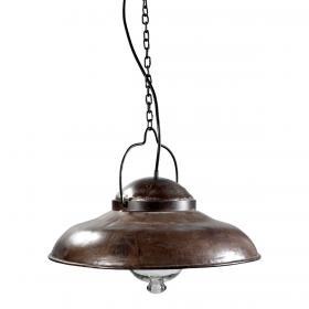 Stropná lampa z kovu a skla