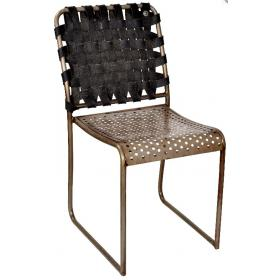Metal chair with rubber back