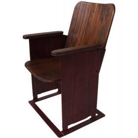 Kinostuhl mit Holzsitz und Eisengestell