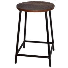 Kovová stolička s dreveným sedadlom