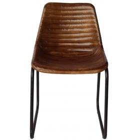 Dining chair made of brown leather