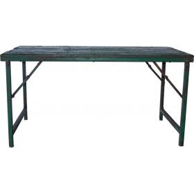 Wooden dining table with metal frame