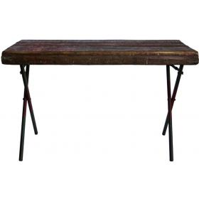 Wooden dining table with metal legs